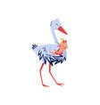 lovely of stork hugging little girl vector image vector image