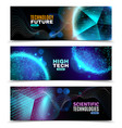 luminescent geometric shapes banners set vector image