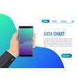 market trend analysis on smartphone with line vector image
