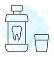 mouthwash bottle thin line icon stomatology vector image vector image