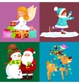 Santa Claus snowman hats children enjoy winter vector image vector image