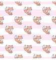 Seamless pattern with fox stickers isolated on vector image