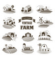 set isolated vintage eco farms landscapes vector image vector image