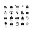 set of black shopping reflection icons vector image vector image