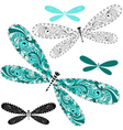 Set vintage dragonflies vector image vector image