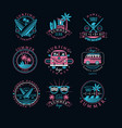 set vintage logos for surfing club vector image
