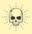 Skull with sunburst isolated on white background vector image vector image