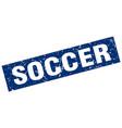 square grunge blue soccer stamp vector image vector image
