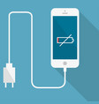 the smartphone is connected to the charge vector image vector image