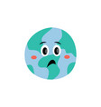unhappy emotion earth planet cartoon vector image vector image