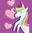 unicorns with rainbow mane bright hearts love vector image vector image