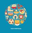 visit portugal round concept with icons in flat vector image