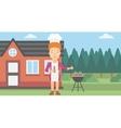 Woman preparing barbecue vector image vector image