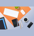 workplace desk top angle view keyboard mouse vector image