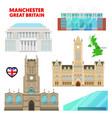 manchester travel set with architecture vector image