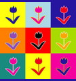tulip sign pop-art style colorful icons vector image