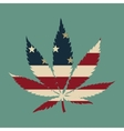 Marijuana leaf with the USA flag colors vector image
