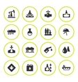 Set round icons of oil industry vector image