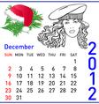 2012 year calendar in december vector image vector image