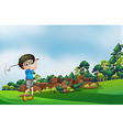A boy playing golf at the forest vector