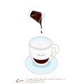 A Cup of Latte Coffee on White Background vector image vector image
