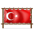 A wooden frame with the flag of Turkey vector image vector image