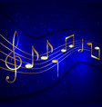 abstract blue musical background with golden notes vector image