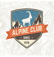 alpine club patch concept for shirt or vector image vector image
