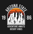 arizona t-shirt design with rocky mountains vector image vector image