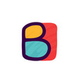 b letter logo in kids paper applique style vector image vector image
