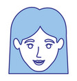 blue silhouette of smiling woman face with vector image vector image