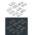 cars isometric set vector image vector image