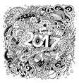 Cartoon cute doodles hand drawn New Year vector image vector image