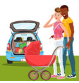 cartoon happy men with loving baby in red carriage vector image vector image