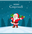 cartoon santa claus carrying christmas tree vector image