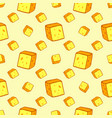 cheese seamless pattern with many slices food vector image