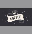 coffee cafe vintage ribbon vector image