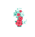 color number 1 with beautiful flowers vector image vector image
