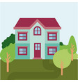 colorful natural landscape with country house of vector image vector image