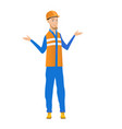 confused young caucasian builder with spread arms vector image vector image