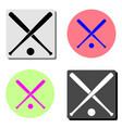 crossed baseball bats and ball flat icon vector image vector image