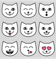 cute cat faces with different emotions vector image vector image