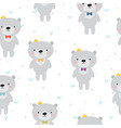 cute seamless pattern with cartoon bear baby vector image