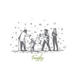 family winter snowman people vector image vector image