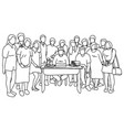 fifteen people standing together with man vector image vector image