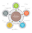flat style 5 steps circle infographic template vector image vector image