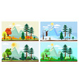 four season landscape spring autumn summer winter vector image