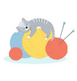 funny cartoon cat lies with pleasure on the balls vector image vector image