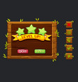 game ui kit template wooden menu of vector image vector image