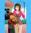 girl giving bouquet of flowers to mother vector image
